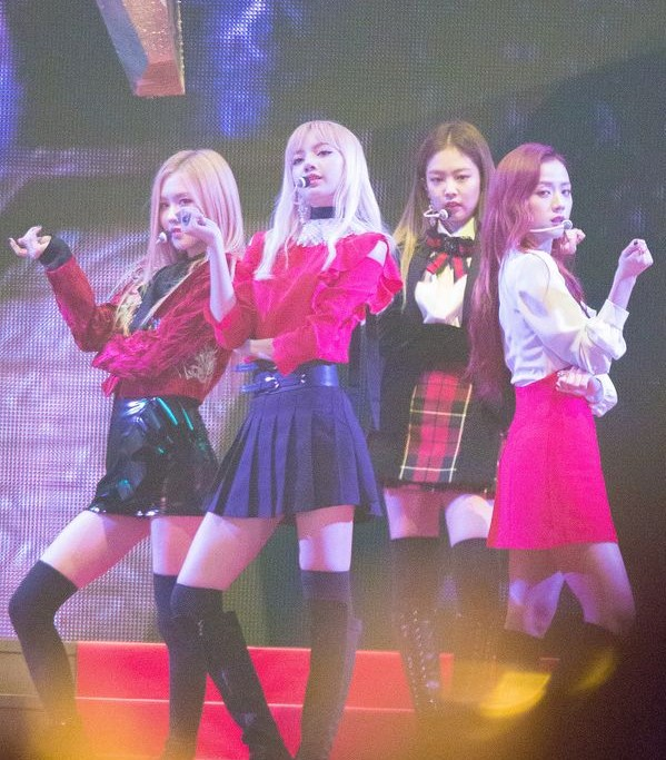 On November 29, 2016, BLACKPINK played hits from their debut single album Square One at the Melon Music Awards in South Korea.  Photo labeled for reuse by Wikimedia Commons.