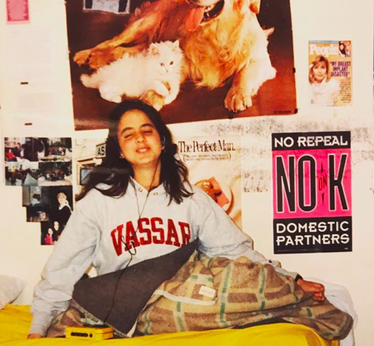 Rachel Simmons in her room in Jerusalem at age 18, proudly donning a Vassar College sweatshirt.