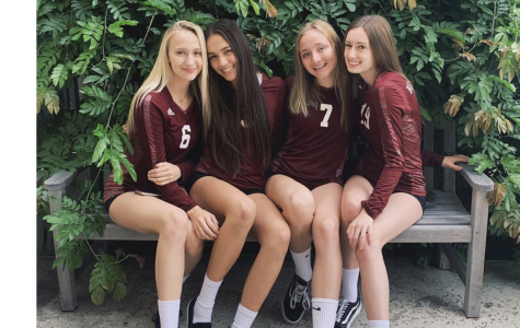 Varsity volleyball stars pictured above. Annecy Crocket ('22), Jessie Stafford ('21), Luna Kostic ('21), and Sophia Forsyth ('21) killed it on the court last Friday.