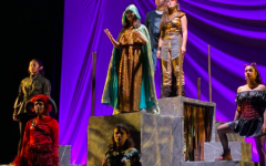 From left to right: Elizabeth Holm ('21), Neal Mehta ('21), Sydney Gerlach ('20), Novalyne Petreikis ('23), Joseph Aguilar ('22),  Maddie Ishayik ('23), and Delilah Delgado ('21) all stand on stage during the closing scene of the Bishop's fall play: She Kills Monsters   (Photo courtesy of the Bishop's School Instagram)