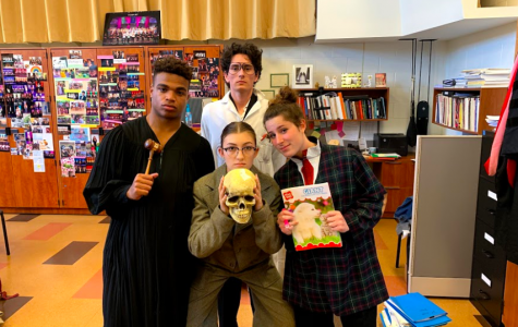 Seniors Gabe Thomas, Amea Wadsworth, and Cat Paul (bottom) pose with Dylan Lödl (top) in a backstage photo. All four played government officials tasked with keeping the rampant corruption of their town a secret from the government inspector.   Photo courtesy of the Bishop's school Flickr page
