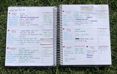 Abby Beamer ('22) uses a planner to keep track of her jam-packed daily schedule.