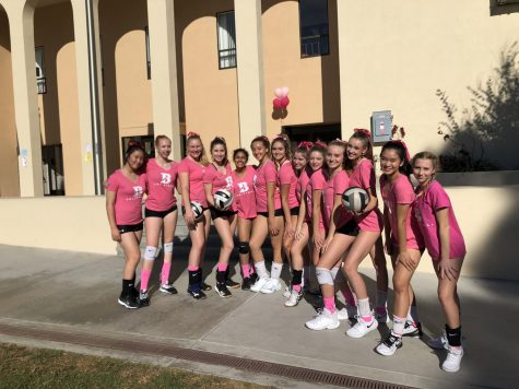 The JV volleyball team smiles for the camera, ready for a fun match for a great cause.