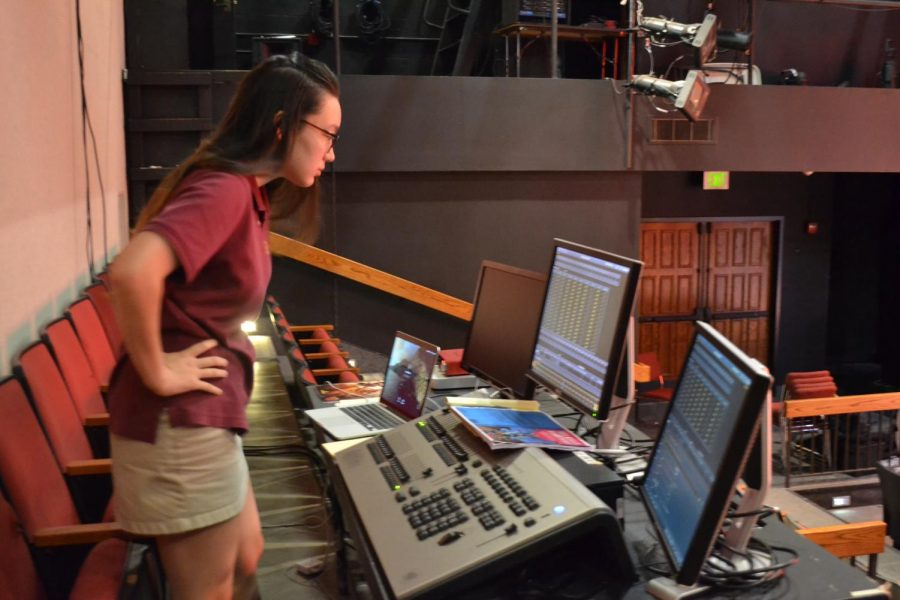 Sabrina must check her computer monitors before shows begin to ensure that all light and sound operations are ready to go; once Tech Week begins, these computers are moved from the theater up to the tech booth.