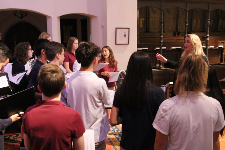 Dr. Micu occasionally takes advantage of the beautiful acoustics in the chapel by bringing the choir there to rehearse. The winter concert was even in the chapel this year.