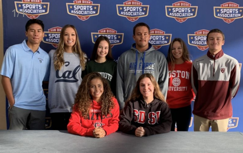 Eight seniors signed on November 13 pose for a picture. From left to right: Chase Ladrido, Brooke Buchner, Lila Browne, Sam de la Cruz, Alex-Rose Molinar, Max Keck, Courtney Anderson, Katie Scott