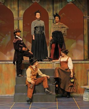 (From left to right) Sir Andrew, Sir Toby, Malvolia, Valentine, and Maria—played by Maddie Ishayik ('23), Karia Kadia (22), Sabrina Webster ('21), Haha Shi ('22), and senior Sydney Gerlach respectively—pose for a photo. One of the many plots throughout the play is the harassment and pranks Malvolia is subjected to at the hands of the other four. Photo courtesy of The Bishop's Performing Arts Instagram (@bishops.performingarts)