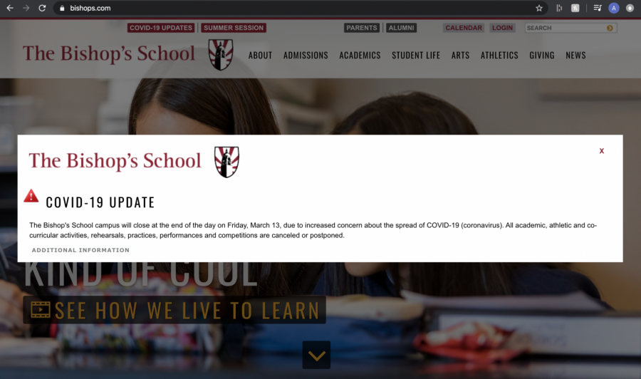 The Bishop's School website was updated to include a pop-up window with information regarding the school closure.