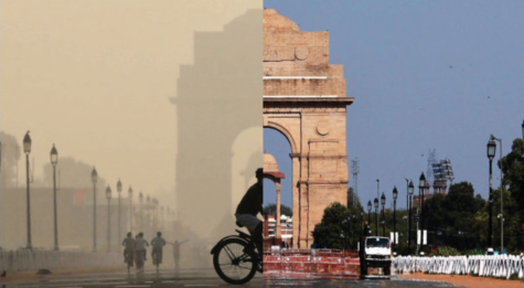 Since the start of social distancing, the amount of pollution around the India Gate has dropped immensely. PC: Twitter @AkbaruddinIndia and edited by Clare Malhotra