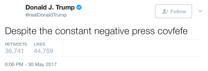 Trump often makes typos in his tweets.