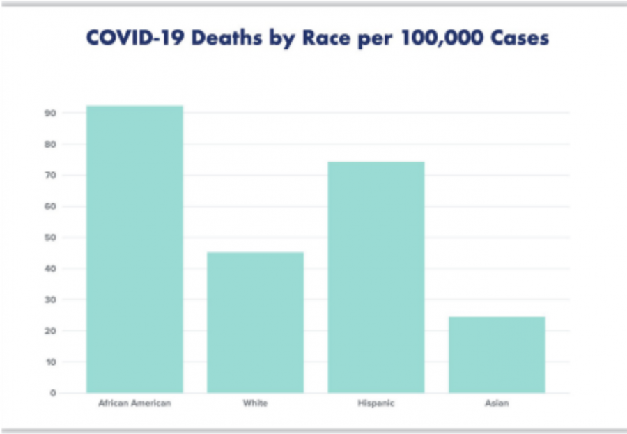 This visual representation of COVID-19 deaths by race per 100,000 cases shows that African Americans are dying at disproportionate rates.