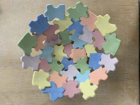 Brooke abandoned this ceramic puzzle piece bowl last spring when campus closed due to COVID-19. Photo Courtesy of Brooke Weatherup (21)