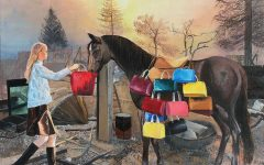 """This painting, called Among the Ashes, was inspired by the California wildfires and society's obsession with material goods. """"When people hear evacuation, the first thing they think of is all the stuff they have to pack up,"""" Sharisa explained."""